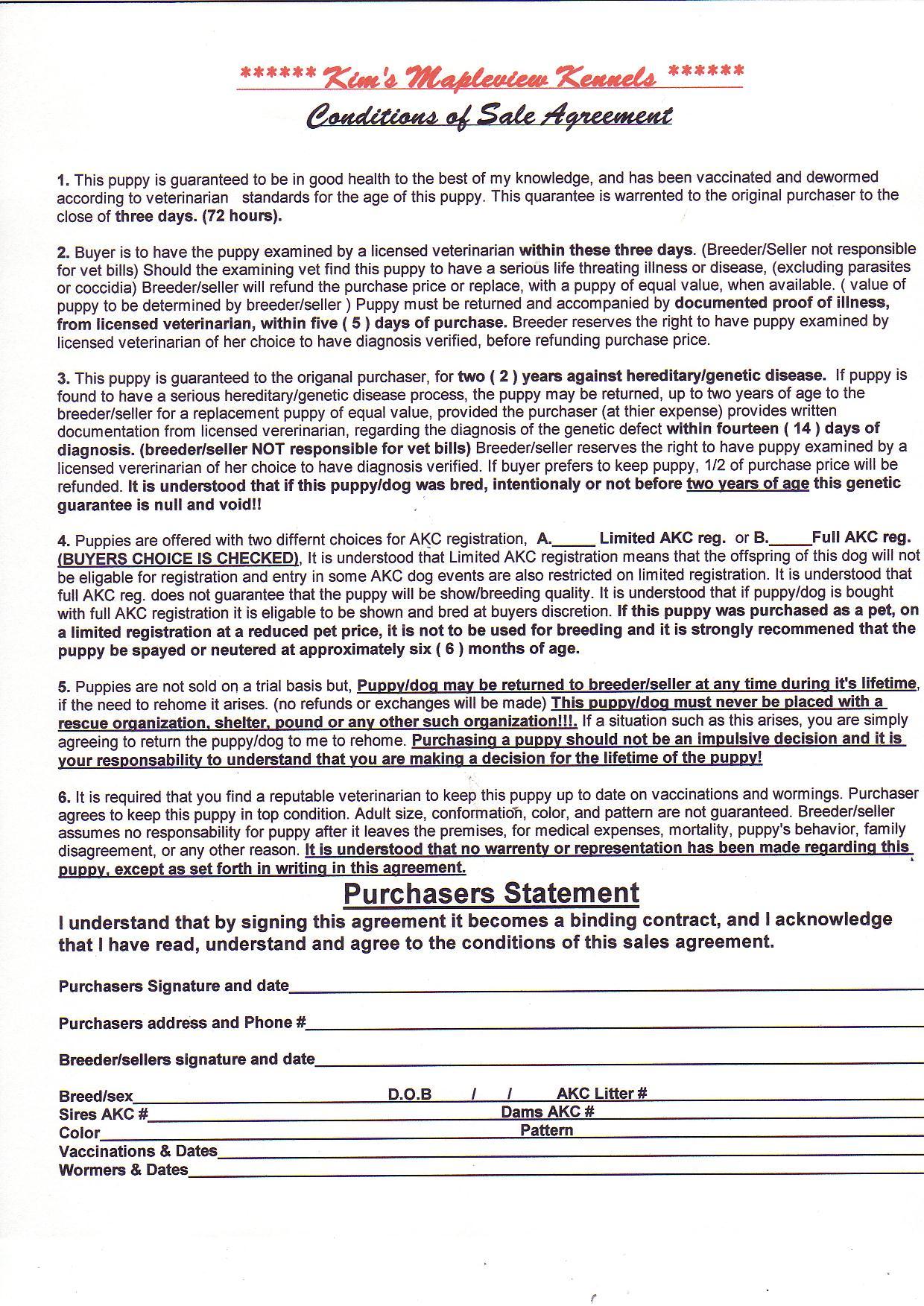 Sales Contract Health Guarantee